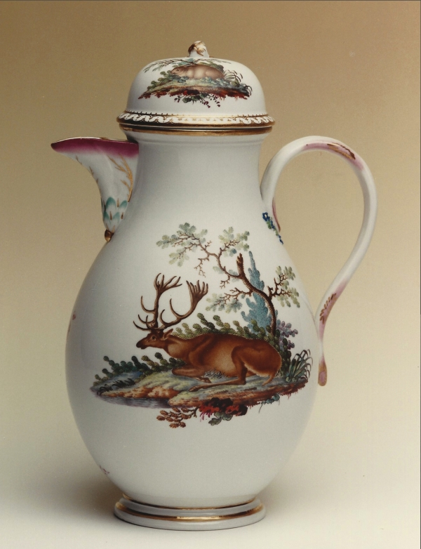 A polychrome Ansbach porcelain coffee pot, decorated in The Hague