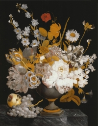 A Dutch reverse-glass painting, still life with flowers and fruit