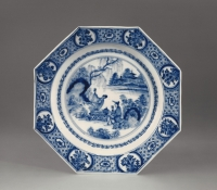 An early porcelain blue and white Chinoiserie dish