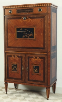A Dutch Louis XVI secretaire à abattant, mounted with black and gilt Japanese panels