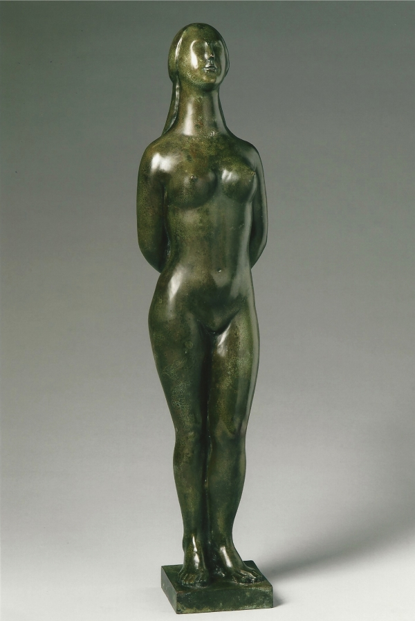 A green patinated bronze sculpture