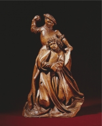 A South German limewood sculpture of the stoning of Christ