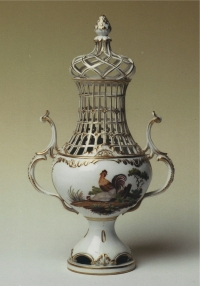 A covered vase of Dutch polychrome porcelain