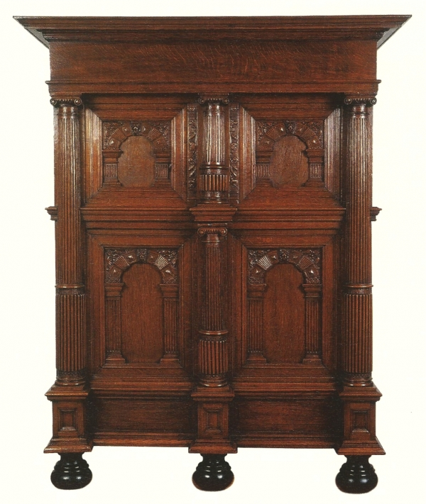 A Dutch oak four-door cupboard, so called 'Amelander' kast