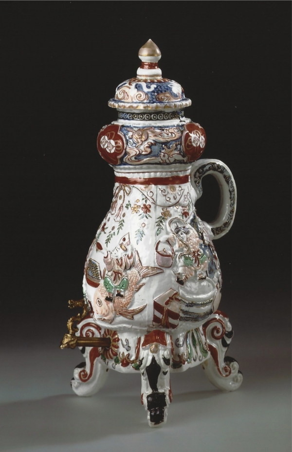 An Imari porcelain coffee urn, Japon de Commande, after a European model