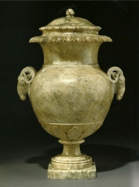An Italian albaster urn with cover