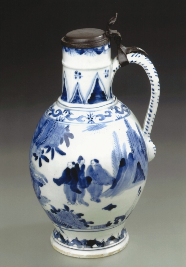 A blue and white Arita porcelain ewer, mounted with a 17th century pewter lid