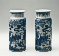 A pair of blue and white Arita porcelain 'rolwagens'