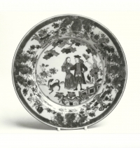 An Imari dish of Chinese export porcelain, decorated with traditionally-named Governor Duff and his wife