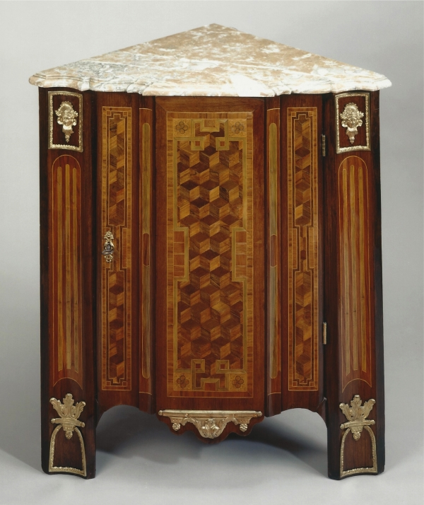 A Dutch Louis XVI marquetry corner-cupboard