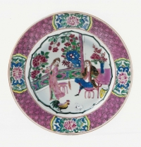A Chinese famille rose porcelain European subject plate
