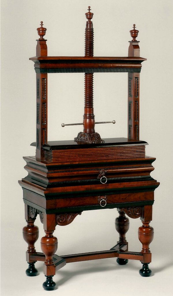 A Dutch rosewood and ebony linen-press