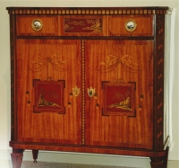 A Dutch Louis XVI satinwood buffet, mounted with Japanese-imitation panels of Dutch laquer-work