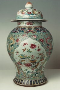 A large famille rose porcelain jar with cover