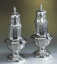 A pair of Belgium silver sugar-casters