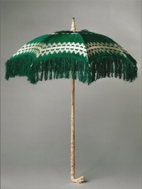 A Chinese export parasol made of silk and ivory