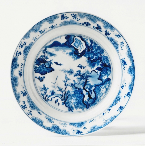 One of a set of six blue and white 'master of the rocks' Chinese porcelain dishes