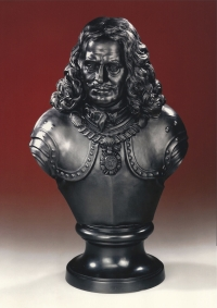 A portrait bust of Wedgwood black basaltware, representing Admiral de Ruyter