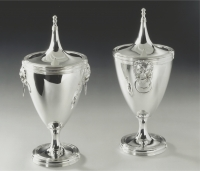 A pair of Dutch silver chestnut vases