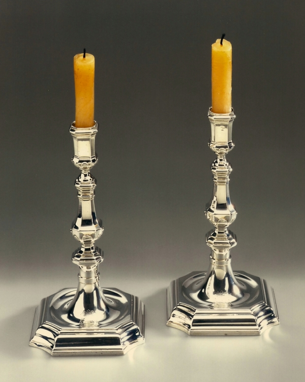 A pair of Dutch silver candlesticks