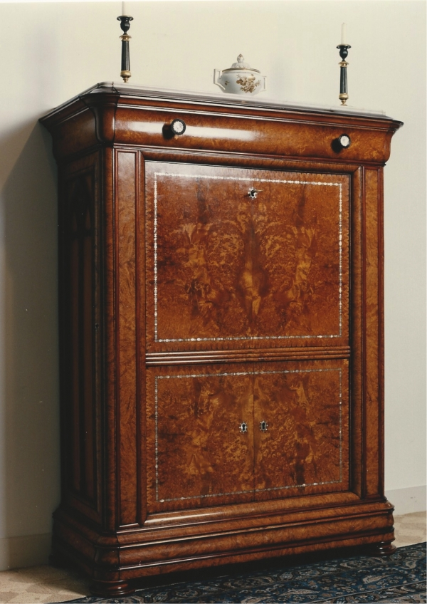 A Dutch secretaire, burr amboyna, mother of pearl and amaranth