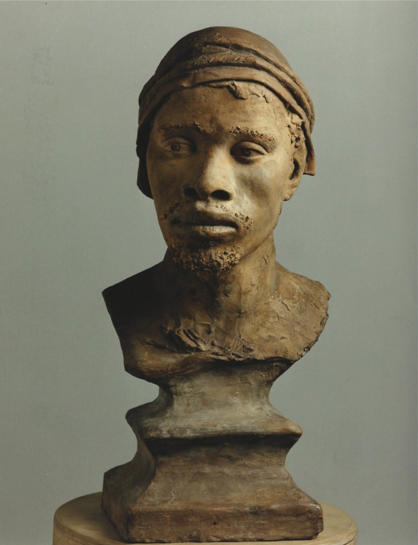 A terra cotta bust of a negro