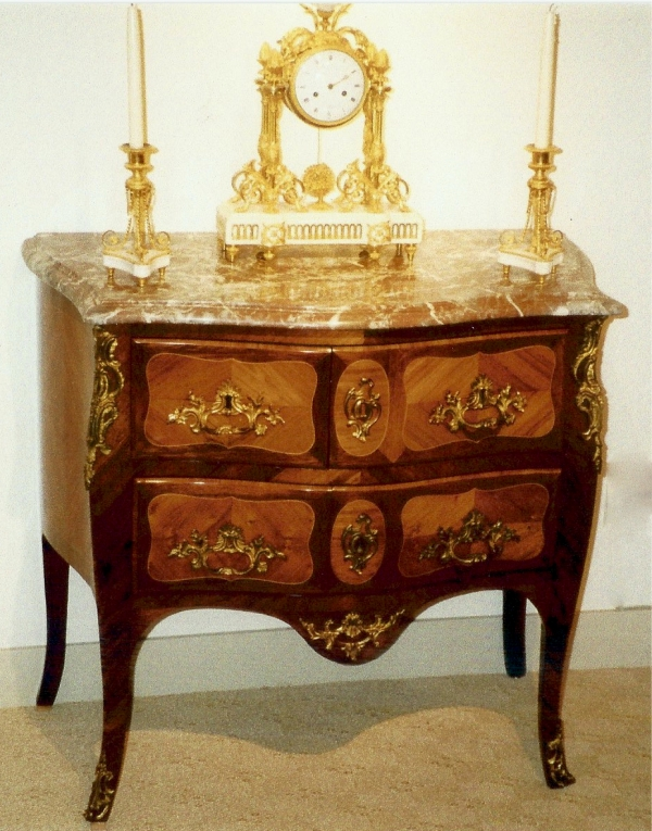 A French Louis XV ormolu-mounted kingwood commode
