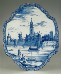 A Dutch blue and white faience plaque