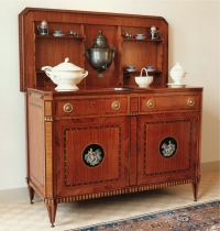 A Dutch buffet, oak veneered with satinwood and various other woods