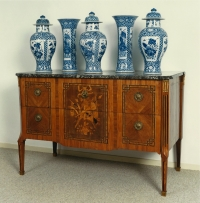 A French Louis XVI ormolu-mounted marquetry commode