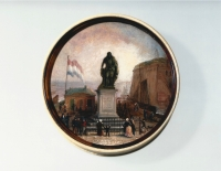 An ivory snuffbox with oil-painted miniature, representing Michiel de Ruyter
