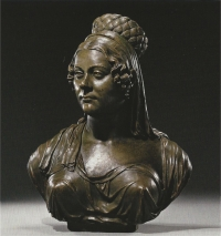 A bronze-imitation terra cotta bust of a noble woman