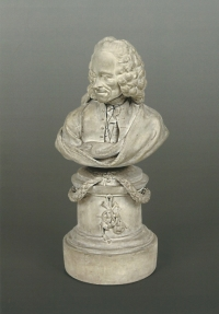 A French terre de Lorraine bust of Voltaire