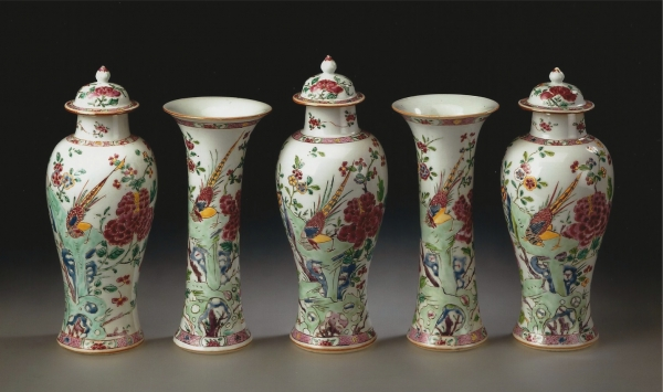 A five-piece garniture of famile rose porcelain