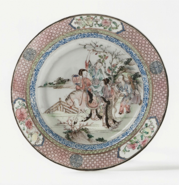 A very finely decorated 'famile rose' Chinese eggshell porcelain deep plate
