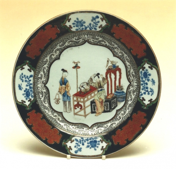 One of a pair of dishes of Chinese famille rose porcelain