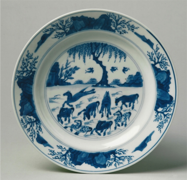 One of a pair of blue and white Chinese porcelain dishes