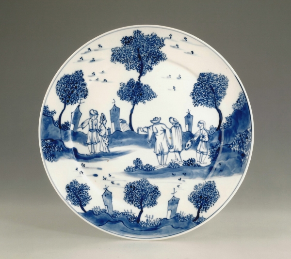 A blue and white Chinese export porcelain dish, after a Dutch Delft original
